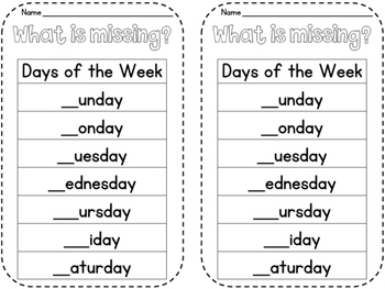 Days of the Week Missing Letters