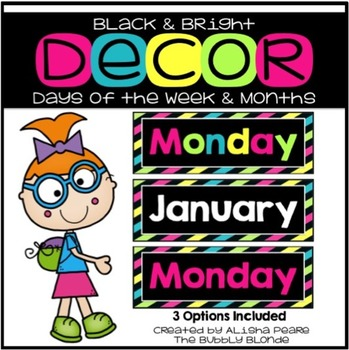 Days of the Week & Month Cards {Black & Bright}