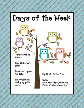 Days of the Week Owls 3 sets in Different Prints and Colors