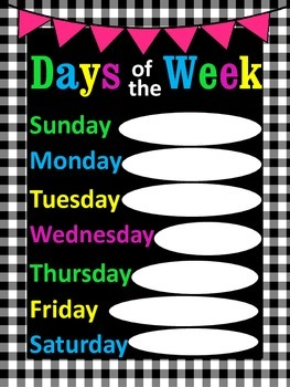 Days of the Week Poster
