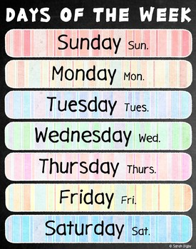"""Days of the Week Poster 22""""x28"""" – English"""