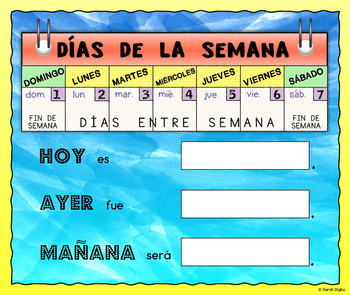 Days of the Week Poster with Speaking Prompts (Spanish)