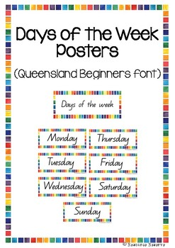 Days of the Week - Queensland Beginners font (Rainbow border)