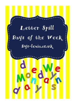 Days of the Week Speed Spell Activity