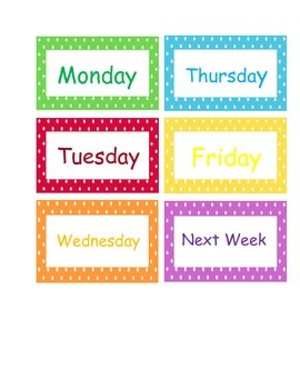 Days of the Week, To Grade, To File Drawer or Folder Labels