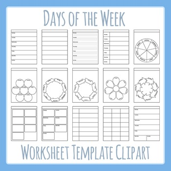 Days of the Week / Weekly Worksheet Templates Clip Art for