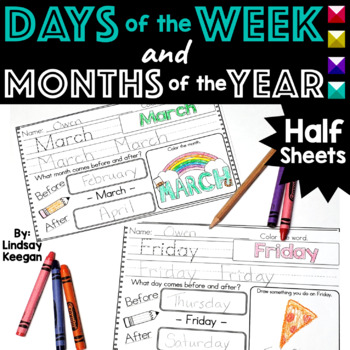 Days of the Week and Months of the Year - Half Sheets -Mor