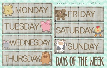 Days of the Week featuring Farm Animals