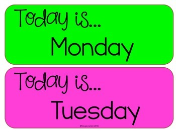 Days of the Week in Neon Colors