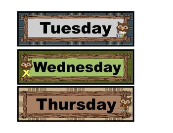 Days of the Week in a Forest, Animal, Owl Theme