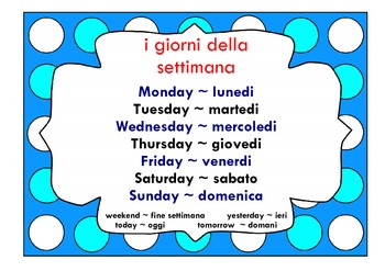 Days of the Week poster in Italian ~ LOTE chart