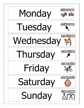 Days of the Week with Picture Symbols