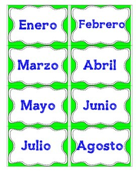 Days of the week and Months of the year conversational fla