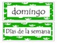 Days of the week in Spanish with paw print border