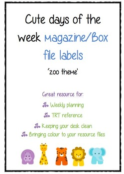 Days of the week- magazine/box file labels