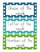 Days of the week, number, shape and letter signs
