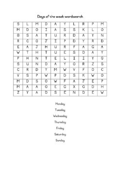 Days of the week wordsearch