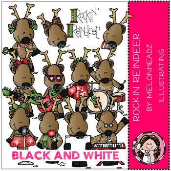 Melonheadz: Rockin Reindeer clip art - BLACK AND WHITE