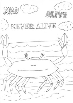 Dead, Alive, Never Lived: Ocean Theme: Crab Worksheet to C