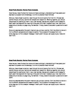 Dead Poet's Society- Partner Poetry Analysis