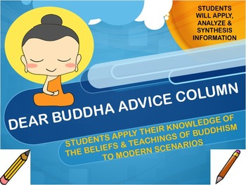 Buddhism: Dear Buddha Advice Column with Handouts and CCLS Rubric