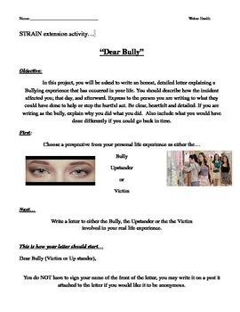 "Bullying Reflection ""Dear Bully"" Letter - Strain extension"