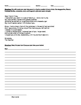 Dear French Fries - Composing a love letter poem