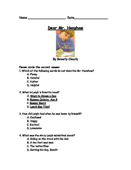 Dear Mr. Henshaw by Beverly Cleary Book Test