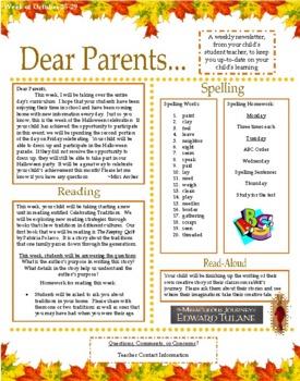Dear Parents: Weekly Parent/Teacher Newsletter