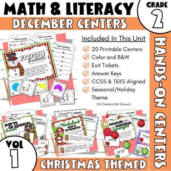 December ELA and Math Stations--2nd Grade