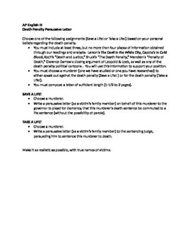 Death Penalty Persuasive Letter AP English Language