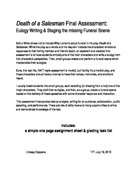 Death of a Salesman Final Assessment: writing eulogies and acting