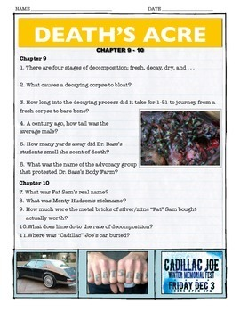 Death's Acre - Chapter 9-10 Questions w/key