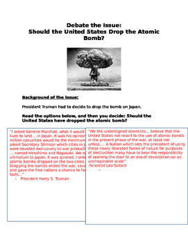Debate: Should the United States have Dropped the Atomic B