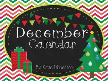 December 2016 First Grade ActivInspire Calendar