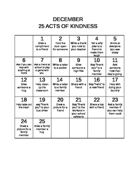December 25 Acts of Kindness