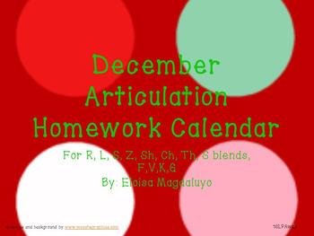 December Articulation Calendar