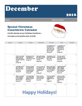 December Articulation Practice Calendar