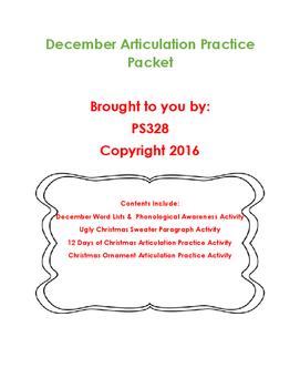 December Articulation Practice Packet