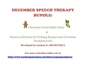 December Bundle: Christmas Social Skills Game and Christma