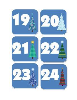December Calendar Number Cards