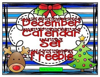 December Calendar Set Freebie