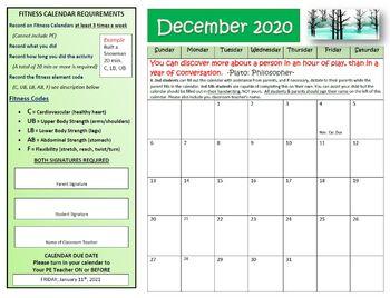 December Fitness Calendar 2016