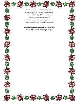 December Handprint Poem -Editable