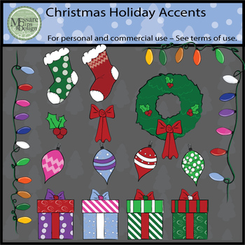 December Holiday Accent Clipart Set {Messare Clips and Design}