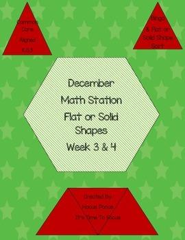 Flat or Solid Math Station Week 3 & 4 K.G.2