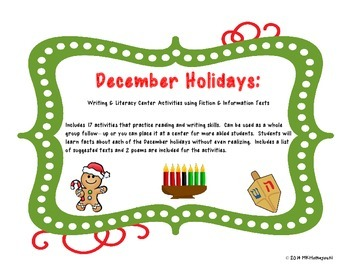 December Holiday Writing and Literacy Center Activities