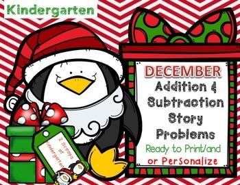 December Kindergarten Add & Subtract Story Problems (Print