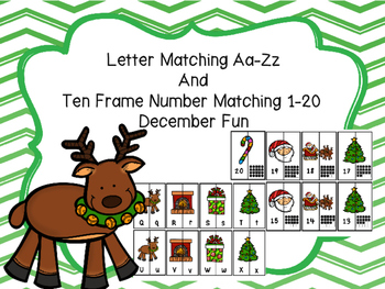December Letter Matching Aa-Zz  And  Ten Frame Number Matc