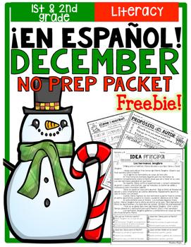 December Literacy No Prep Packet ¡En Español! (1st and 2nd